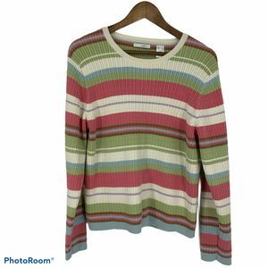 LizGolf Long Sleeve Crew Neck Ribbed Knit Sweater